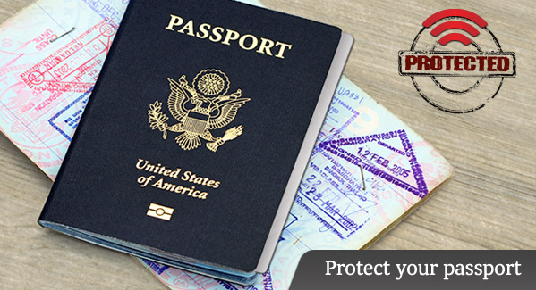 Protect your passport with a passport shield card.